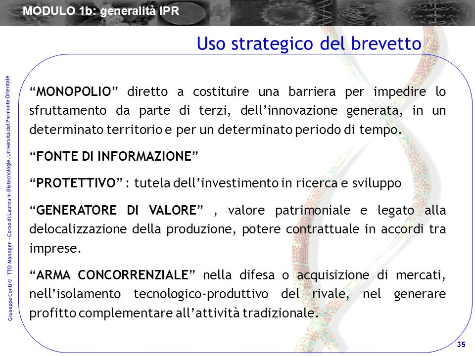 Uso strategico del brevetto