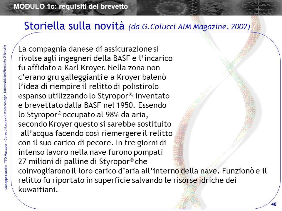Storiella sulla novità (da G.Colucci AIM Magazine, 2002)