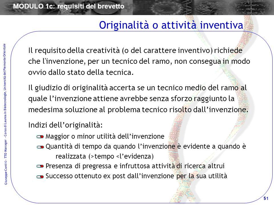 Originalità o attività inventiva
