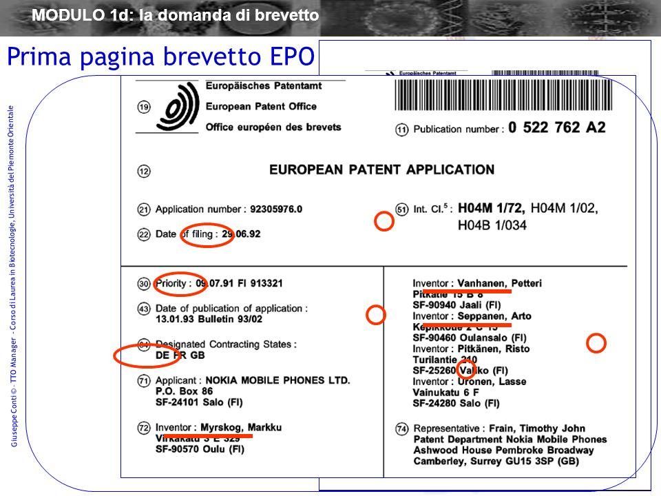 Prima pagina brevetto EPO