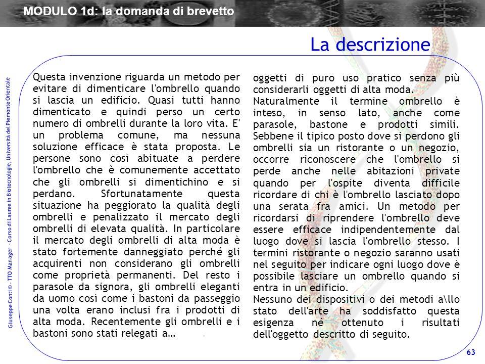 MODULO 1d: la domanda di brevetto