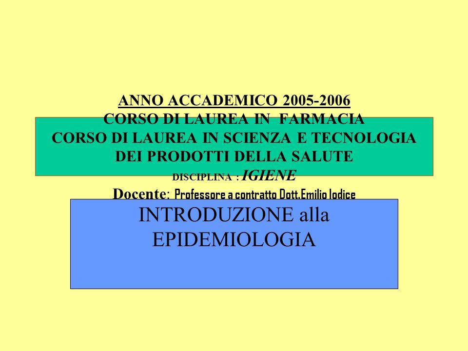 INTRODUZIONE alla EPIDEMIOLOGIA
