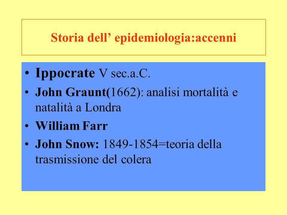 Storia dell' epidemiologia:accenni