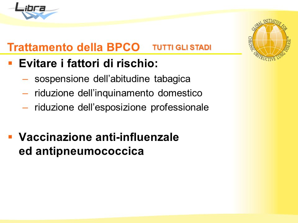Trattamento della BPCO Evitare i fattori di rischio: