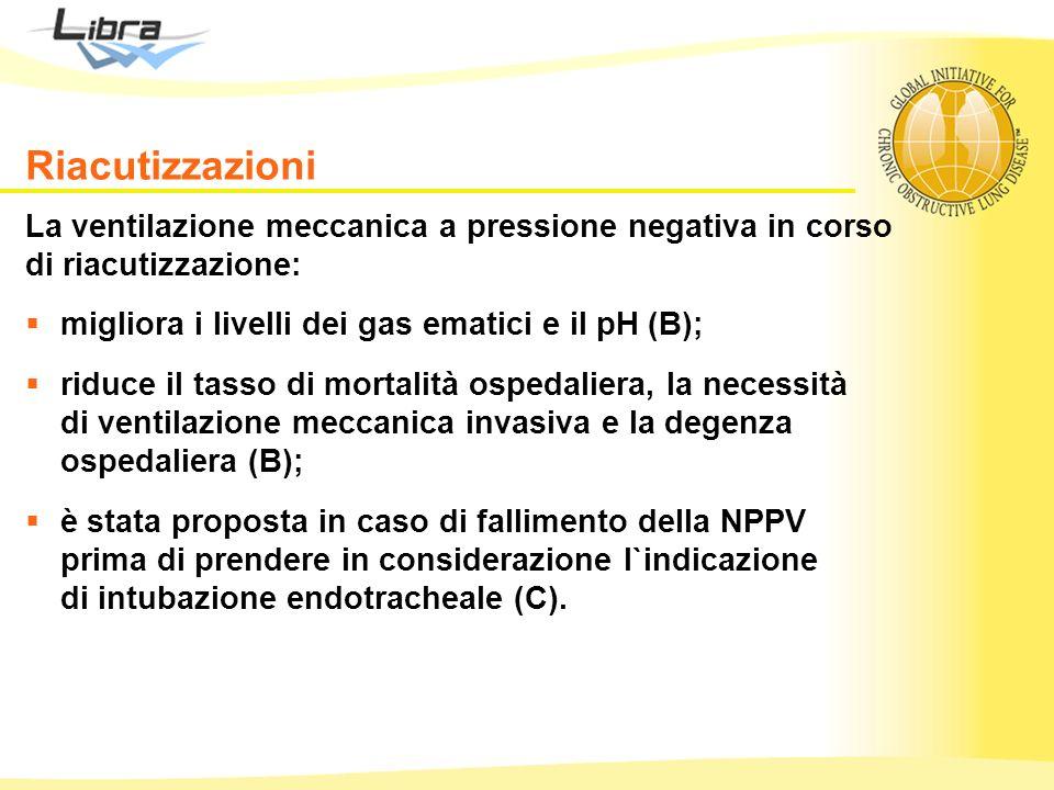 Riacutizzazioni La ventilazione meccanica a pressione negativa in corso di riacutizzazione: migliora i livelli dei gas ematici e il pH (B);