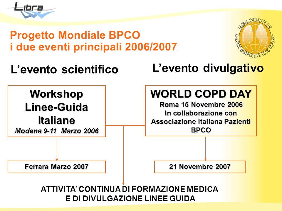 Progetto Mondiale BPCO i due eventi principali 2006/2007