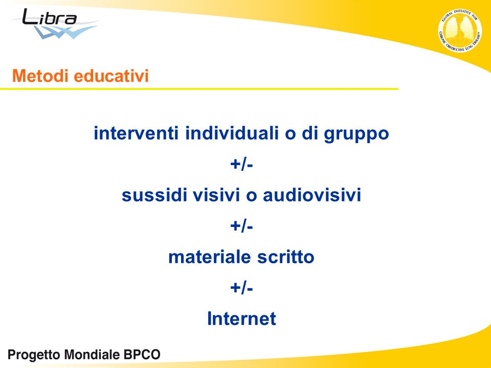 interventi individuali o di gruppo sussidi visivi o audiovisivi