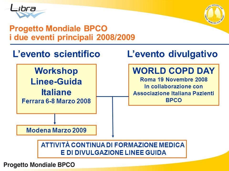 Progetto Mondiale BPCO i due eventi principali 2008/2009