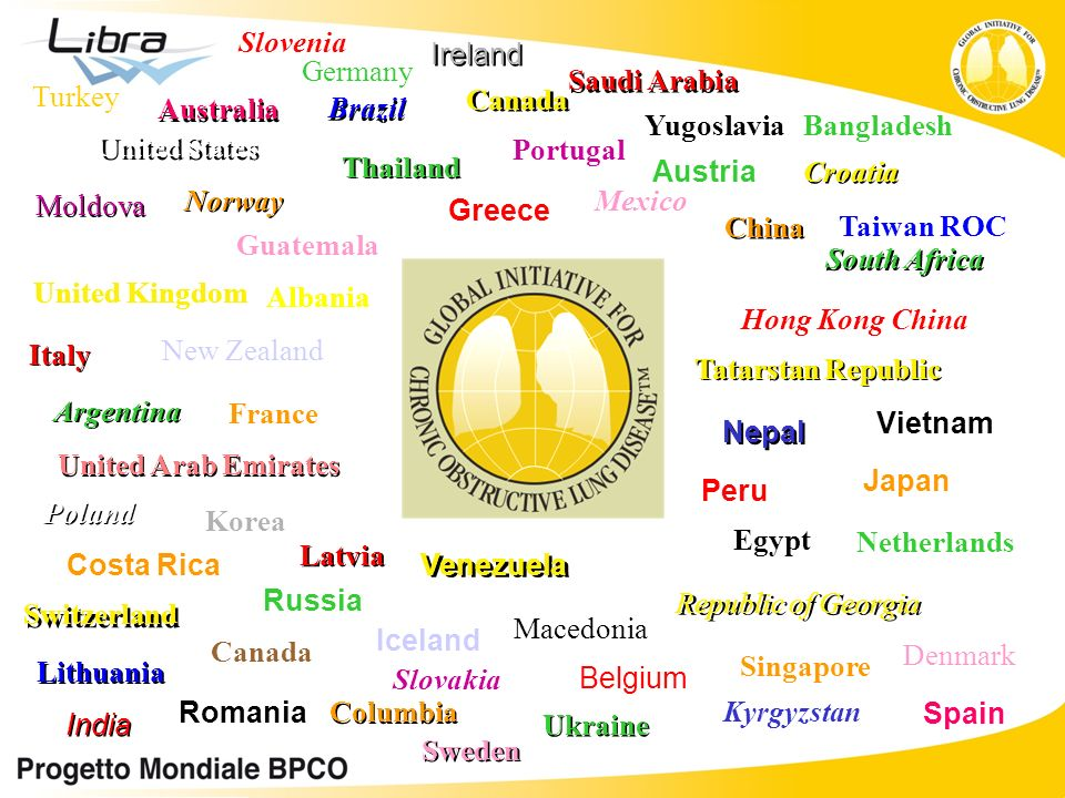 Slovenia Ireland. Germany. Saudi Arabia. Turkey. Canada. Australia. Brazil. Yugoslavia. Bangladesh.
