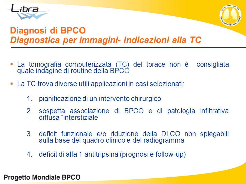Diagnosi di BPCO Diagnostica per immagini- Indicazioni alla TC