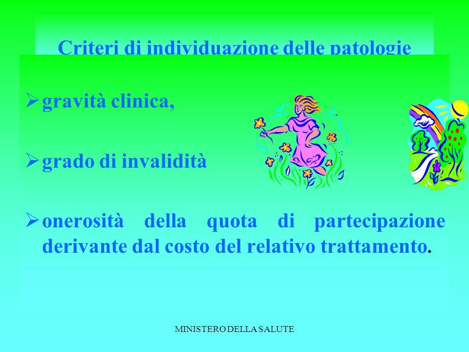 Criteri di individuazione delle patologie