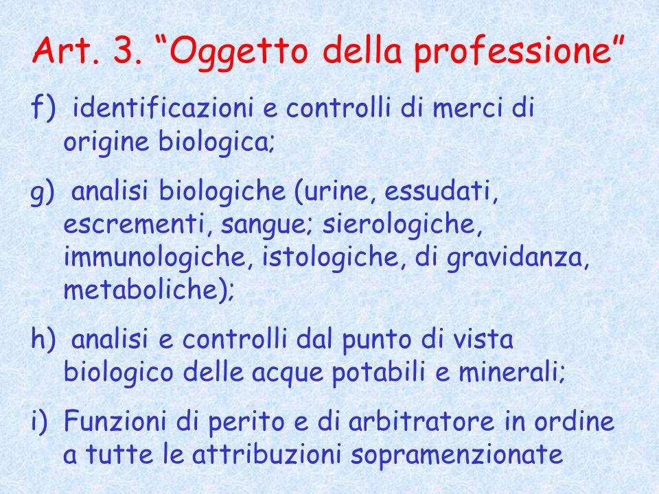 Art. 3. Oggetto della professione