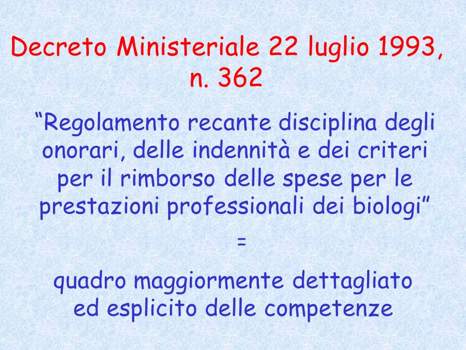 Decreto Ministeriale 22 luglio 1993, n. 362