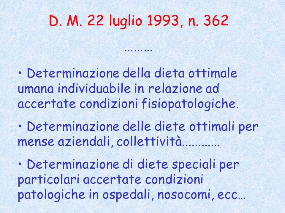 D. M. 22 luglio 1993, n. 362 ……… Determinazione della dieta ottimale umana individuabile in relazione ad accertate condizioni fisiopatologiche.