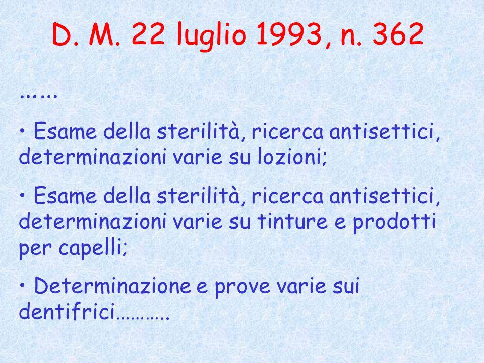 D. M. 22 luglio 1993, n. 362 …… Esame della sterilità, ricerca antisettici, determinazioni varie su lozioni;