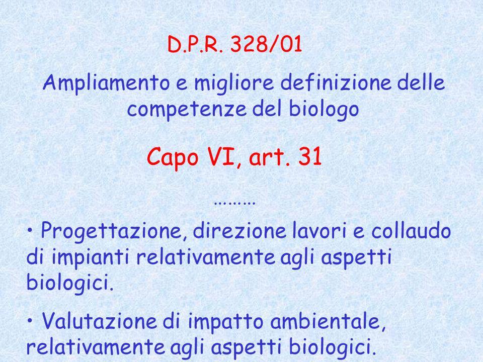 Ampliamento e migliore definizione delle competenze del biologo