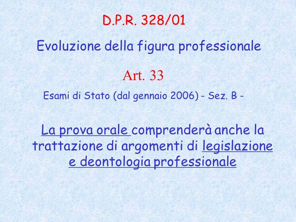 Art. 33 D.P.R. 328/01 Evoluzione della figura professionale