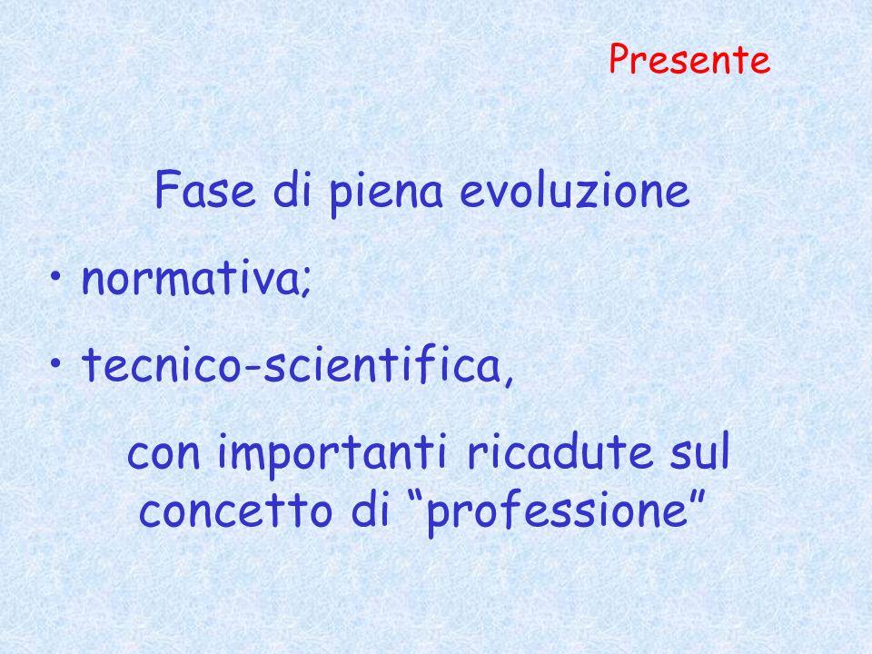 Fase di piena evoluzione normativa; tecnico-scientifica,