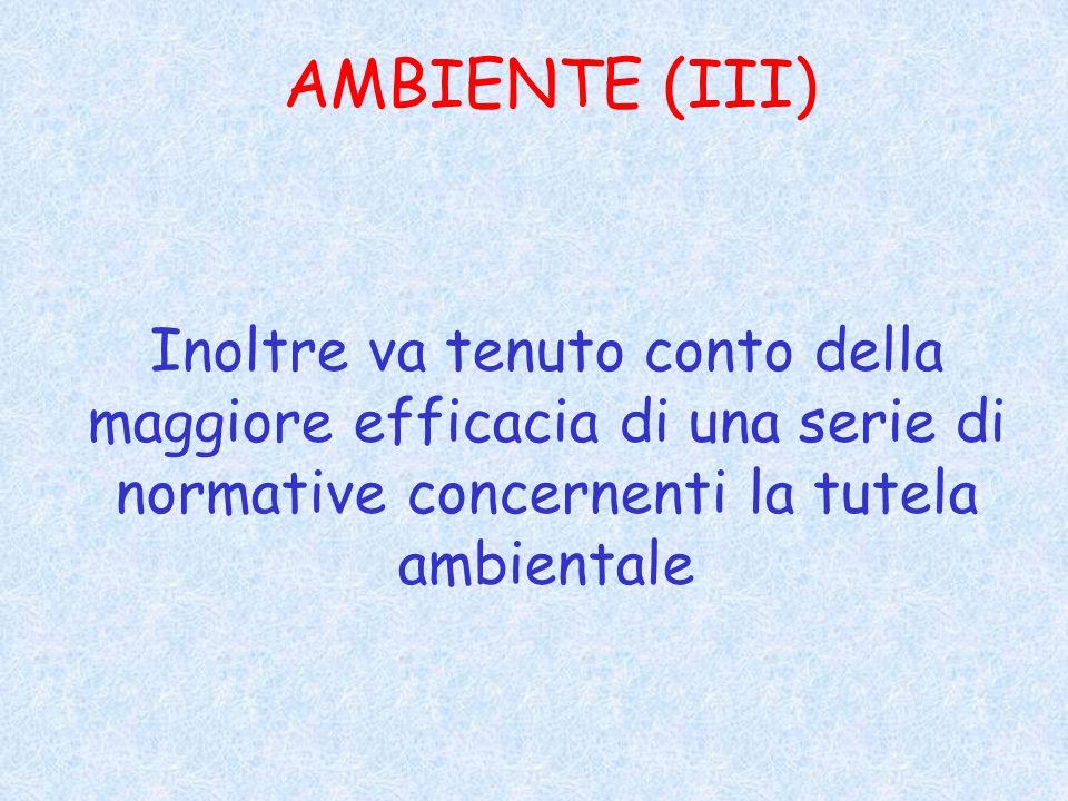 AMBIENTE (III) Inoltre va tenuto conto della maggiore efficacia di una serie di normative concernenti la tutela ambientale.