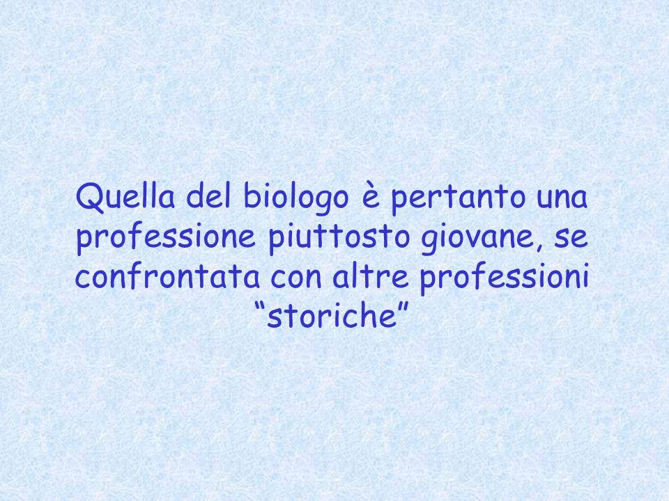 Quella del biologo è pertanto una professione piuttosto giovane, se confrontata con altre professioni storiche