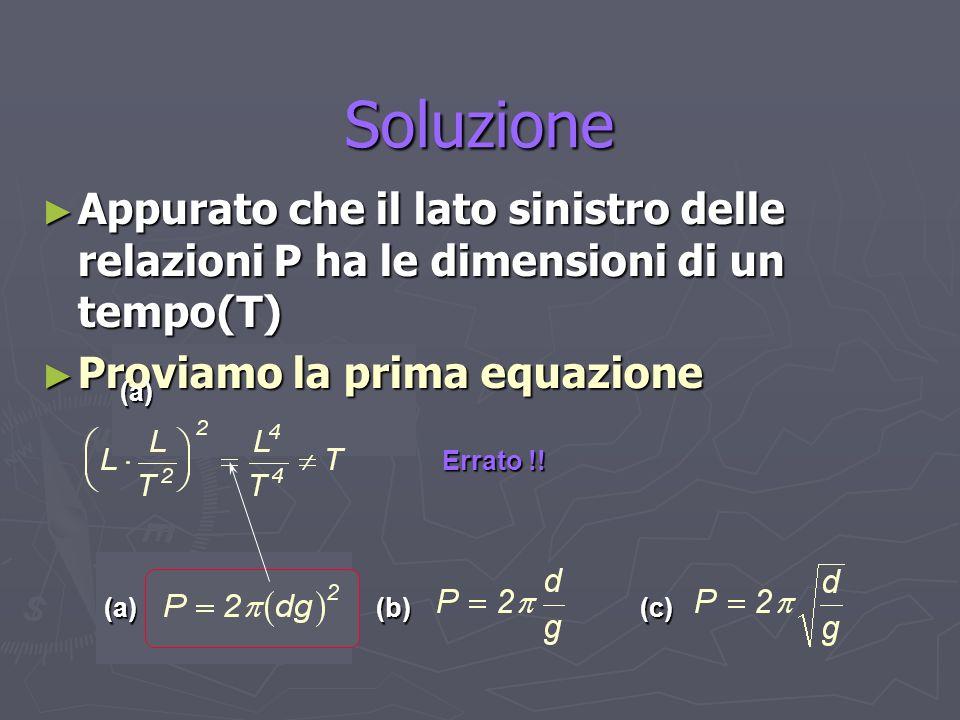 Soluzione Appurato che il lato sinistro delle relazioni P ha le dimensioni di un tempo(T) Proviamo la prima equazione.