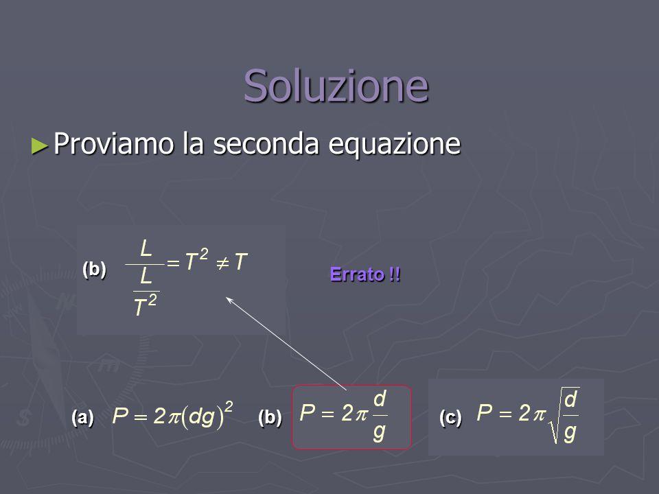 Soluzione Proviamo la seconda equazione (b) Errato !! (a) (b) (c)