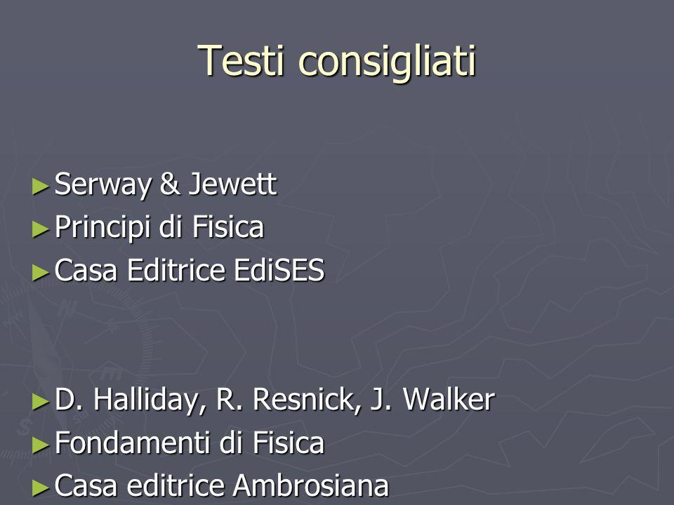 Testi consigliati Serway & Jewett Principi di Fisica
