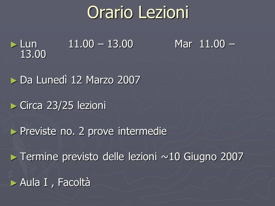 Orario Lezioni Lun 11.00 – 13.00 Mar 11.00 – 13.00