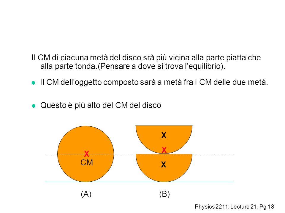 Il CM di ciacuna metà del disco srà più vicina alla parte piatta che alla parte tonda.(Pensare a dove si trova l'equilibrio).