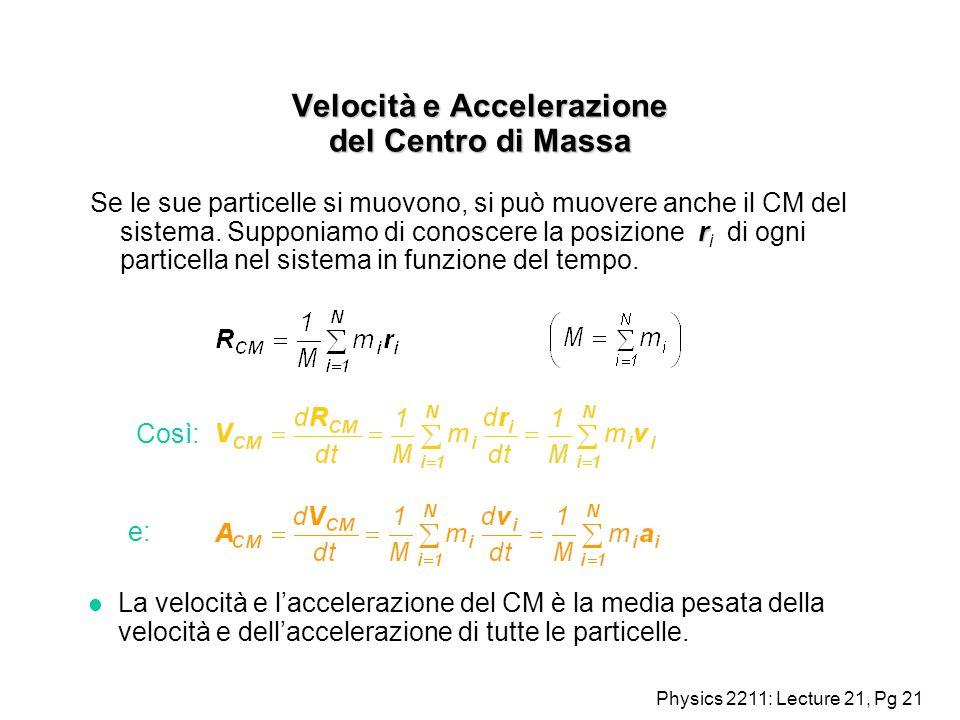 Velocità e Accelerazione del Centro di Massa