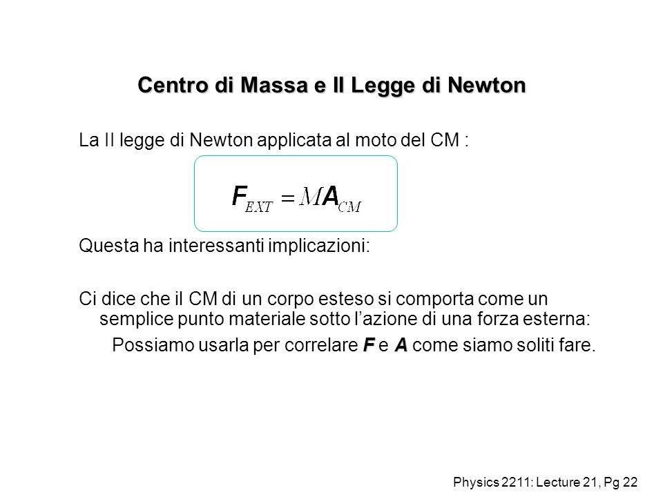 Centro di Massa e II Legge di Newton
