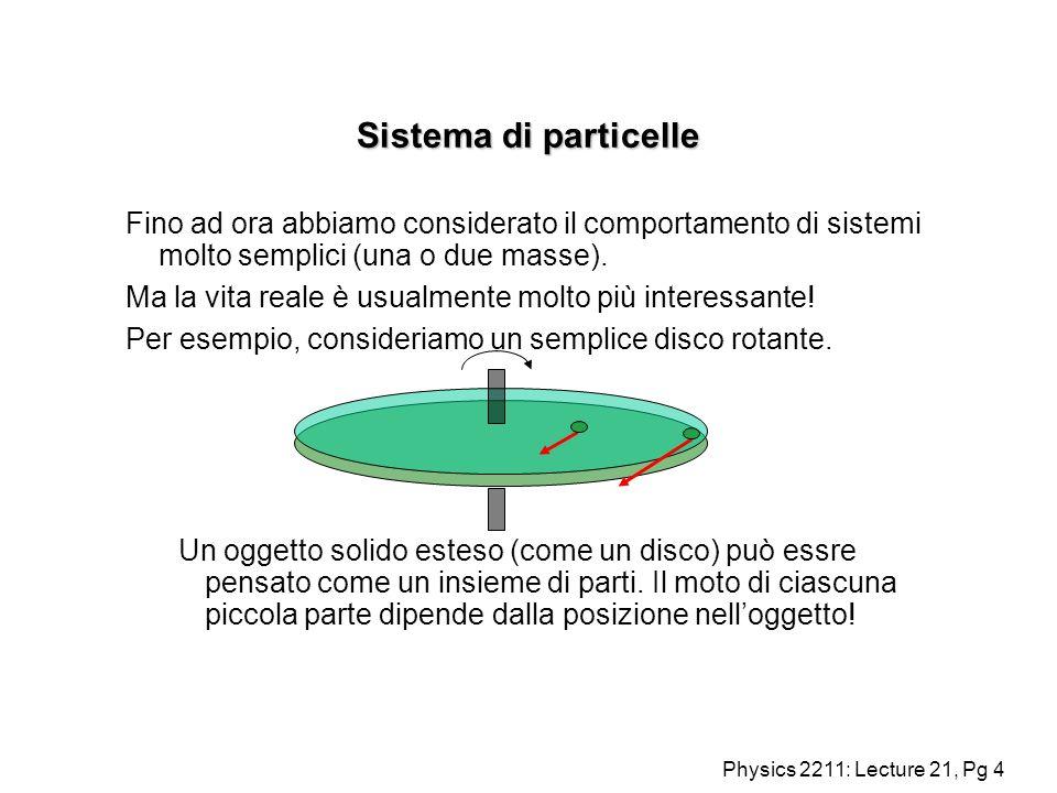 Sistema di particelle Fino ad ora abbiamo considerato il comportamento di sistemi molto semplici (una o due masse).