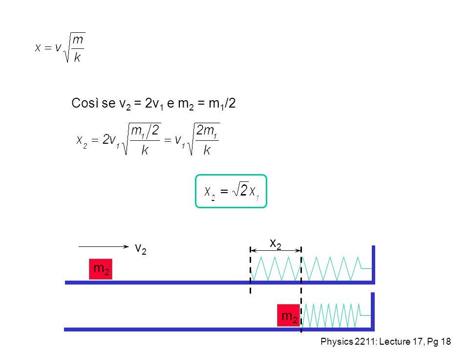 Così se v2 = 2v1 e m2 = m1/2 x2 v2 m2 m2