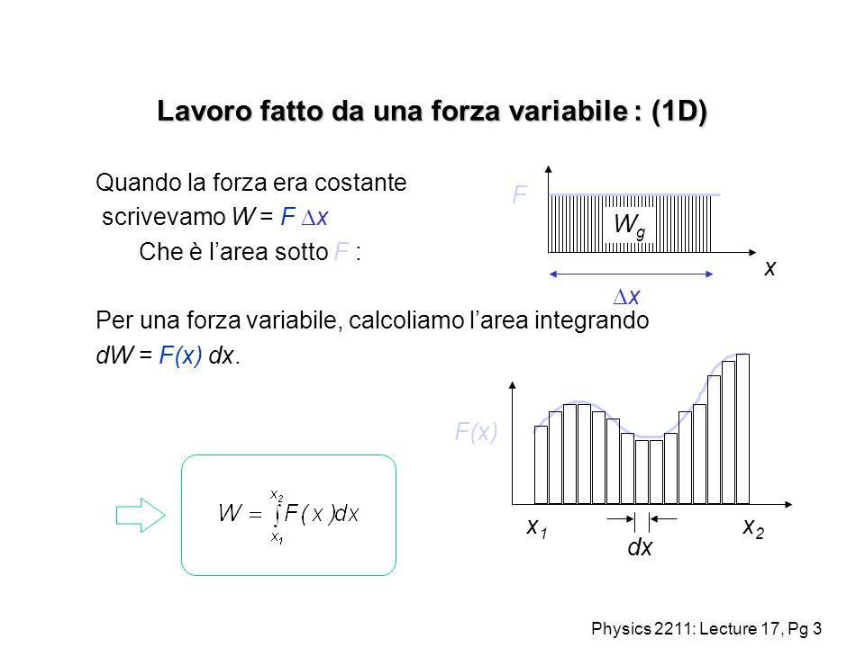 Lavoro fatto da una forza variabile : (1D)