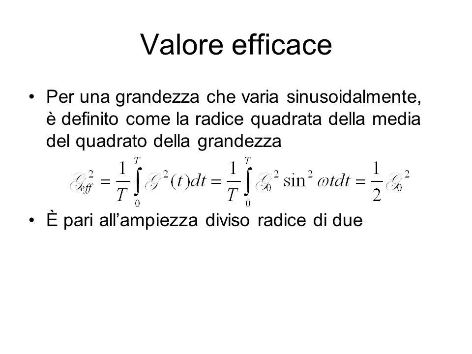 Valore efficace Per una grandezza che varia sinusoidalmente, è definito come la radice quadrata della media del quadrato della grandezza.