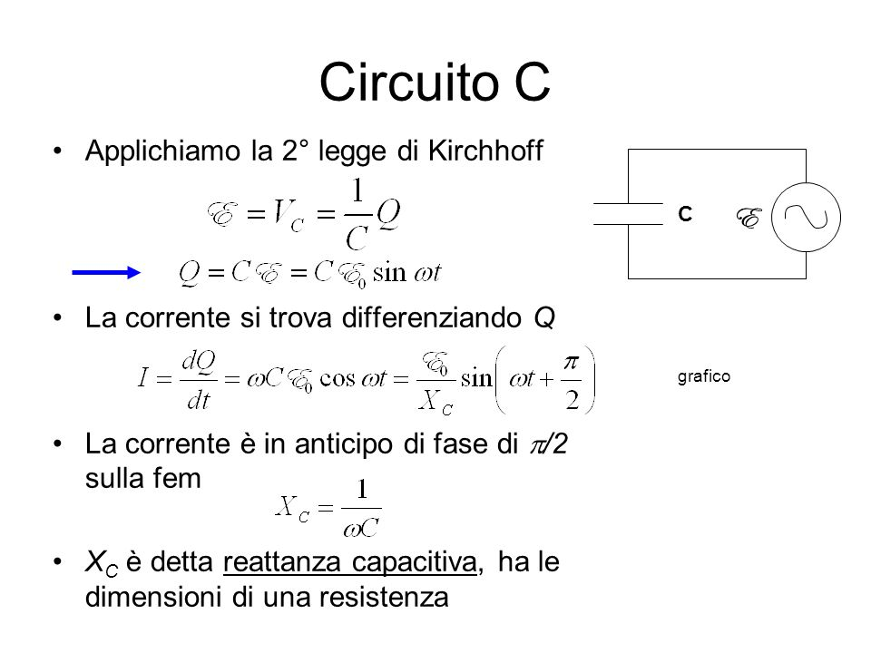 Circuito C Applichiamo la 2° legge di Kirchhoff E