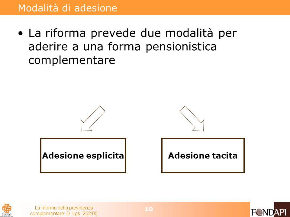 La riforma della previdenza complementare: D. Lgs. 252/05