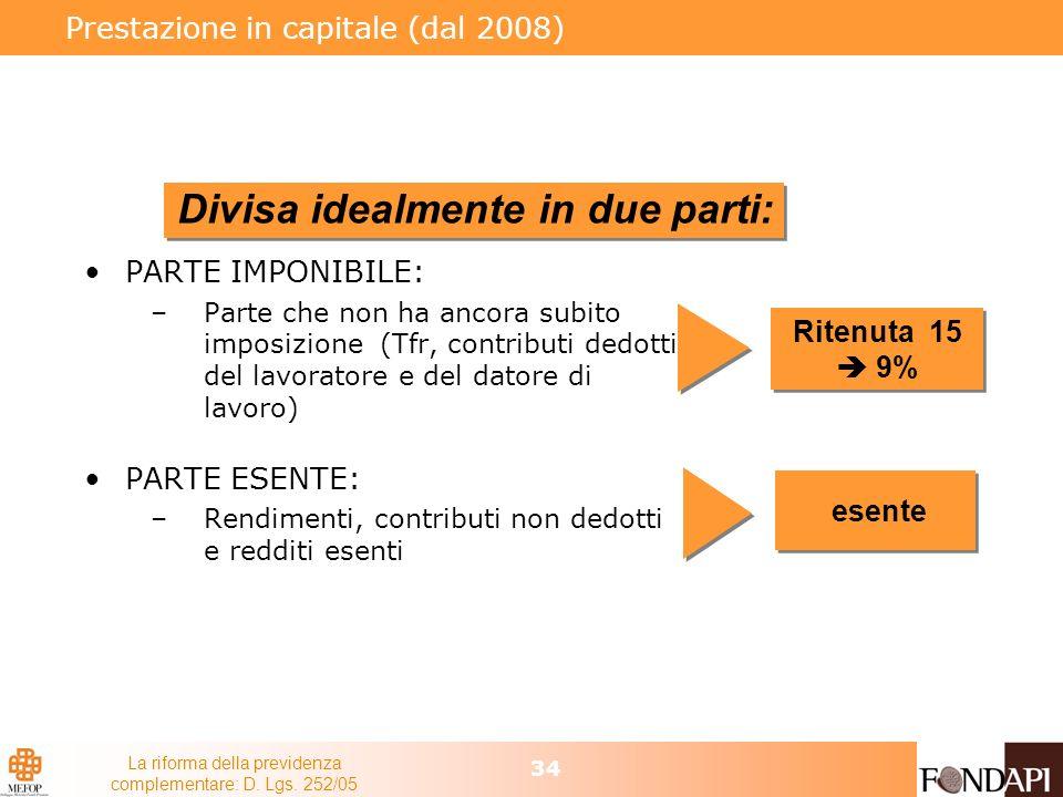 Prestazione in capitale (dal 2008)