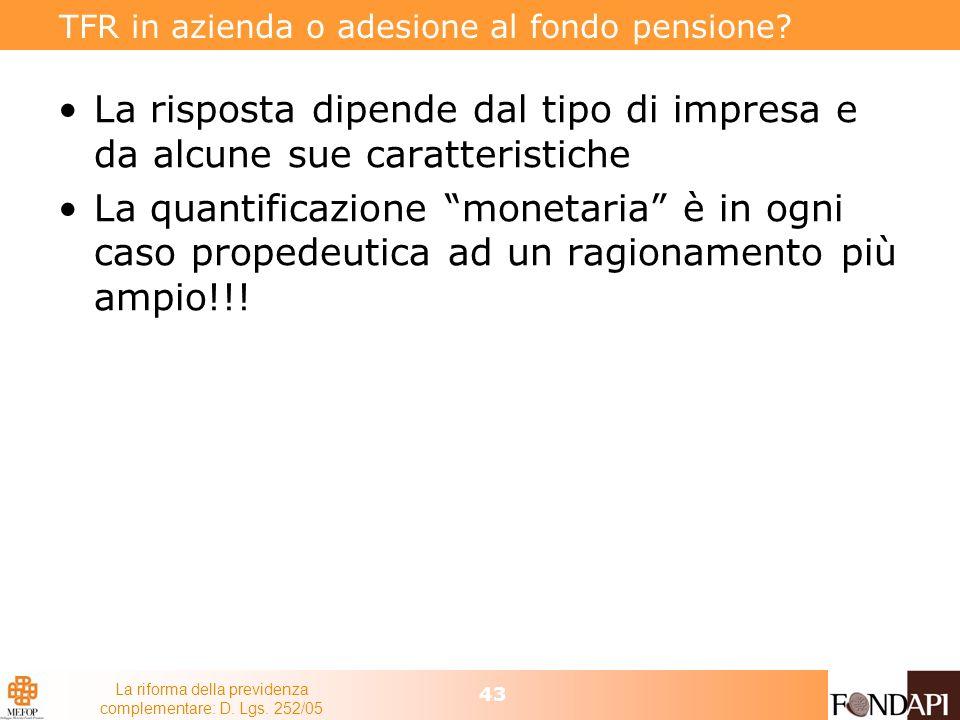 TFR in azienda o adesione al fondo pensione