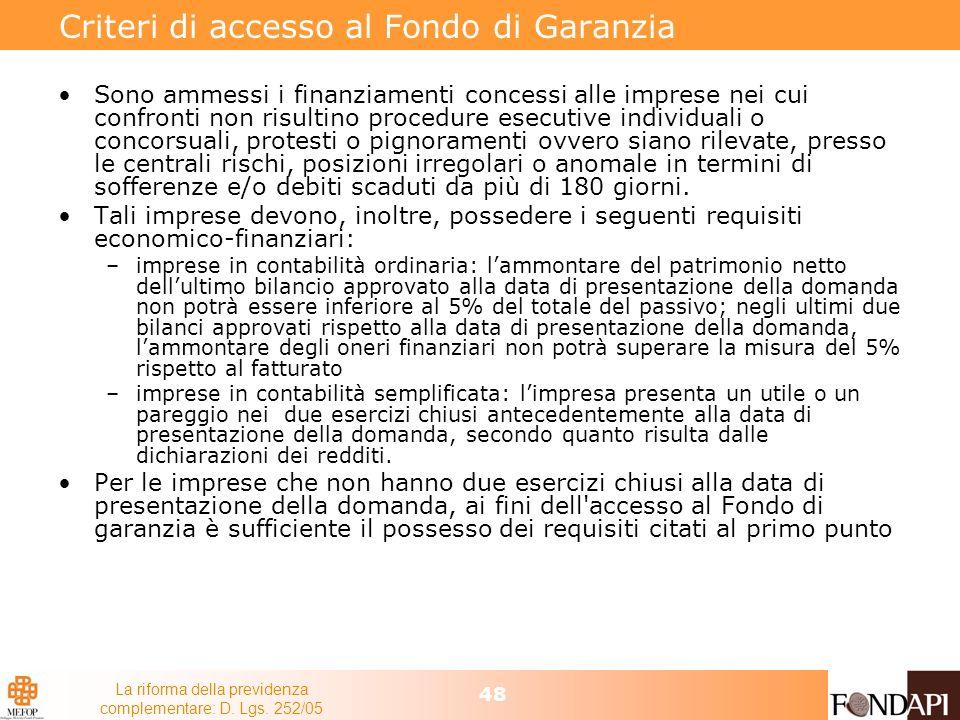 Criteri di accesso al Fondo di Garanzia