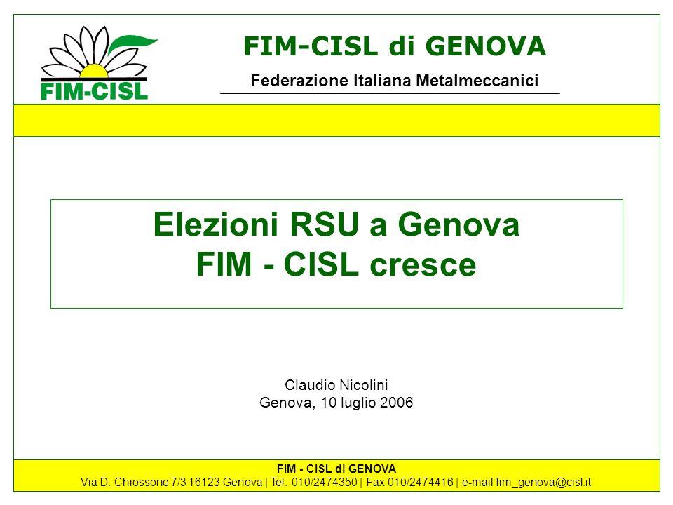 Elezioni RSU a Genova FIM - CISL cresce