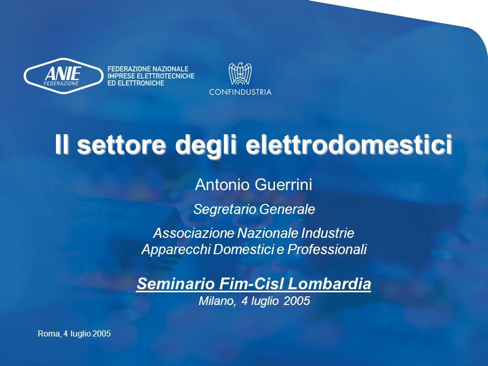 Il settore degli elettrodomestici Seminario Fim-Cisl Lombardia