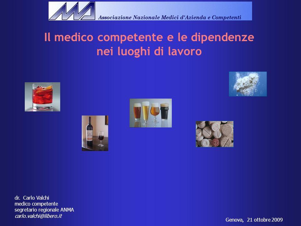 Il medico competente e le dipendenze