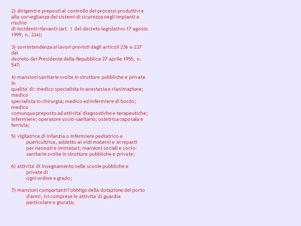 2) dirigenti e preposti al controllo dei processi produttivi e alla sorveglianza dei sistemi di sicurezza negli impianti a rischio di incidenti rilevanti (art. 1 del decreto legislativo 17 agosto 1999, n. 334);