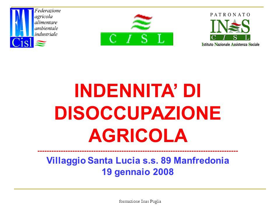 INDENNITA' DI DISOCCUPAZIONE AGRICOLA
