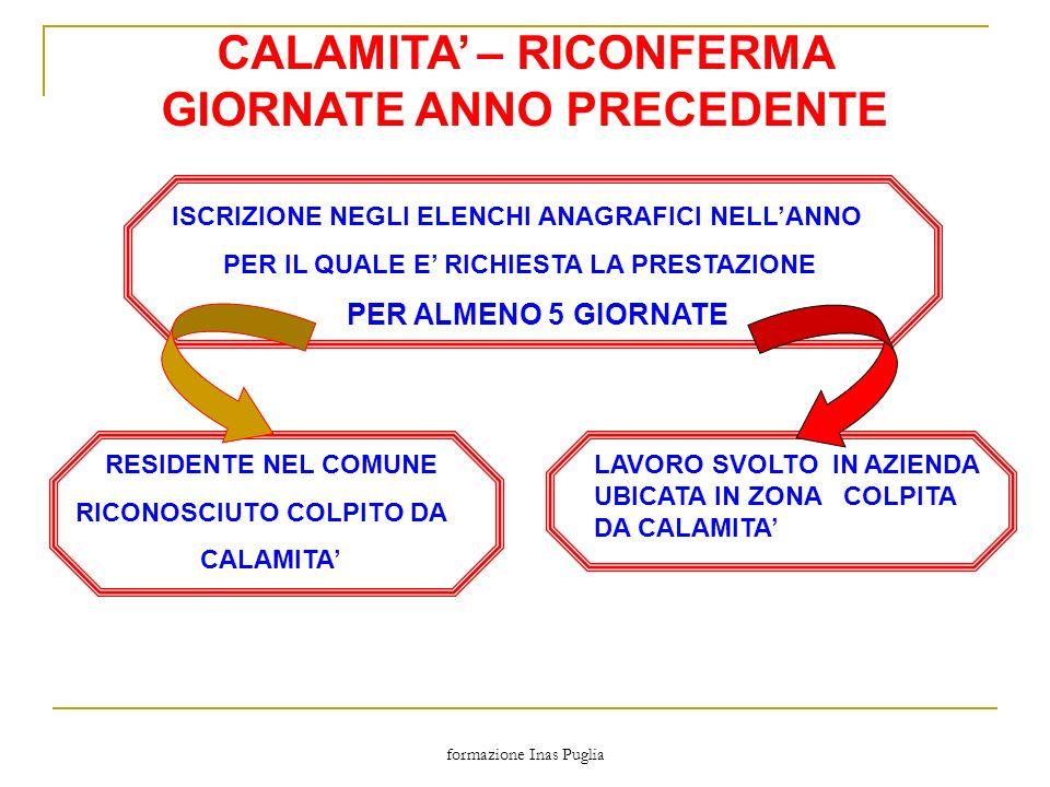 CALAMITA' – RICONFERMA GIORNATE ANNO PRECEDENTE