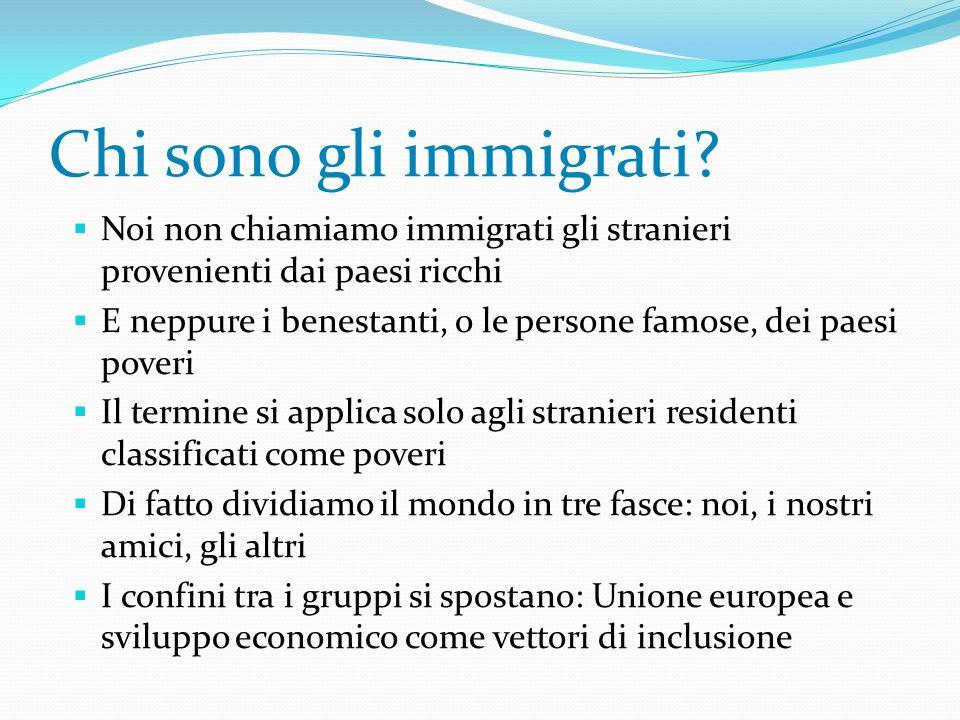 Chi sono gli immigrati Noi non chiamiamo immigrati gli stranieri provenienti dai paesi ricchi.