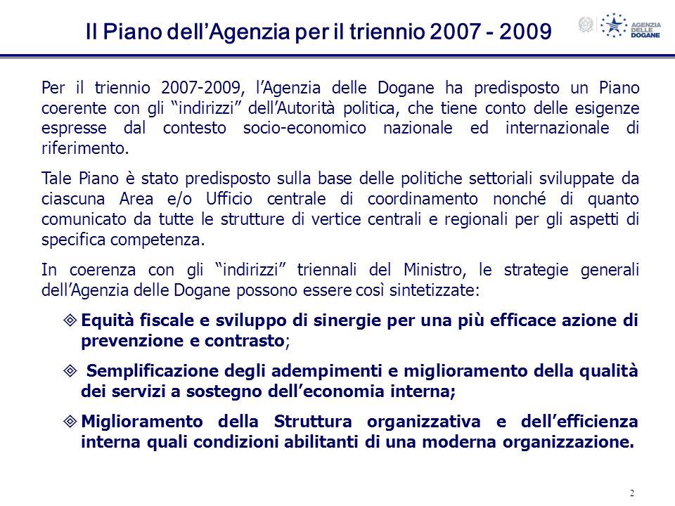 Il Piano dell'Agenzia per il triennio 2007 - 2009