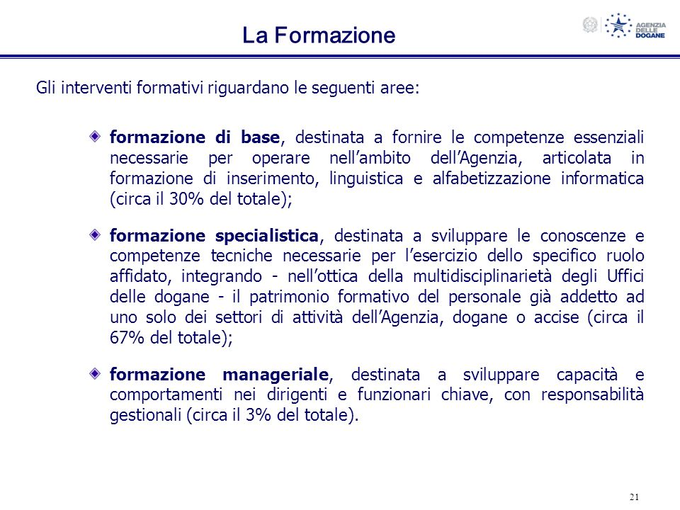 La Formazione Gli interventi formativi riguardano le seguenti aree: