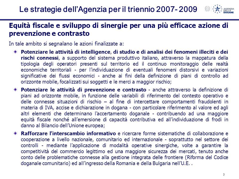 Le strategie dell'Agenzia per il triennio 2007- 2009